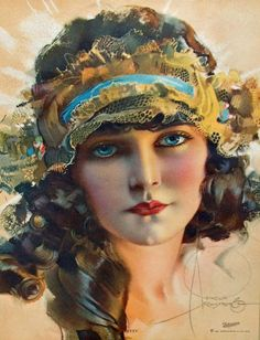 Rolf Armstrong illustration, 1920s….lovely boudoir bandeau on her! ""