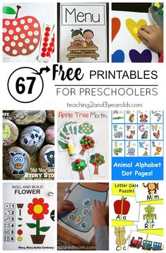 67 Free Printable Activities for Preschoolers - This is perfect for back to school! From Teaching 2 and 3 Year Olds