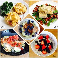 WIAT M1: scrambled egg & feta on an English muffin with spinach. M2: cod, sweet potato, snow peas & asparagus. M3: zoats with flaxseed, blueberries & crunchy PB. M4: salmon with a chill & mint salsa on noodles & courgette. M5: Greek yoghurt topped with berries.