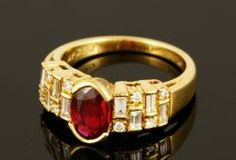 18K Yellow Gold Ruby and Diamond Ring. A beautiful gift, anniversary, birthday, special occasion.   April Estate Auction   Kaminski Auctions