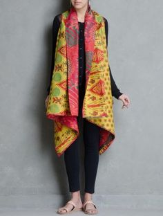Multi-Color Silk Reversible Kantha Embroidered Shrug by House of Wandering
