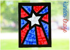 """With Memorial Day coming up next week, my students created patriotic """"stained glass"""" window decorations in the colors of the American flag. We had SO much fun with this project and the results are ..."""