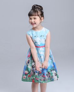 Girl Dress 2015 New Brand Baby Kids Clothes Vestidos Children Princess Party Dresses for Girls Cartoon animals, rabbit butterfly