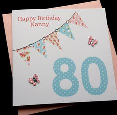 Bunting Handmade Personalised Birthday Card 30th 40th 50th 60th 70th 80th 90th