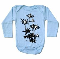 Organic Thistle Flower, infant one-piece by Little Lark. $28.00. Product DescriptionAlso known as sea holly, the icy, blue thistle one-piece is a great design for both boys and girls this winter. Little Lark's apparel is sweatshop free, 100% cotton, lead free, and individually silk-screened by hand. Fabric labels are hand printed on recycled cloth and ironed to the inside of each garment. Each infant bodysuit and kid's shirt comes with a printed muslin bag that ...