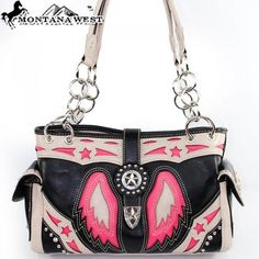 'Authentic Montana West Leather Pink Wings Handbag' is going up for auction at  2pm Sun, Jun 23 with a starting bid of $10.