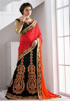 A premium collection of indian designer sarees. Order this net and jacquard black lehenga saree for festival and reception. Orange Lehenga, Lehenga Style Saree, Black Lehenga, Net Lehenga, Lehenga Choli, Choli Designs, Blouse Designs, Saree Shopping, Casual Saree