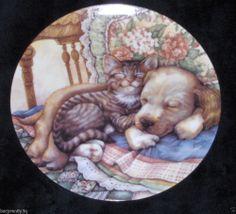 Vtg Crestley Collection Leesa Whitten Cuddle Up Plate Cat Dog Friends 1993 Dish