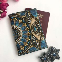 Passport holder hand-painted leather passport cover the best Dot Painting Tools, Rock Painting Patterns, Dot Art Painting, Mandala Dots, Mandala Design, Wood Box Design, Painted Rocks, Hand Painted, Painting Leather