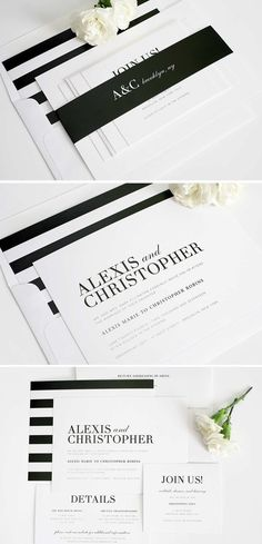 Glamorous Black and White striped wedding invitation suite. Perfect for an elegant yet modern wedding!
