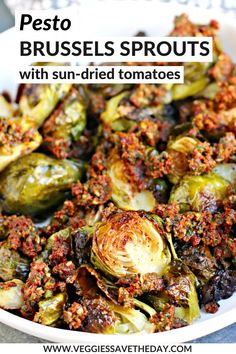 Pesto Brussels Sprouts with Sun-Dried Tomatoes is a flavorful side dish that& easy to make. It& vegan and gluten-free with a nut-free option. Yummy Vegetable Recipes, Sprout Recipes, Vegan Dinner Recipes, Vegetarian Recipes, Healthy Recipes, Vegan Side Dishes, Dinner Side Dishes, Side Dish Recipes, Dinner Sides