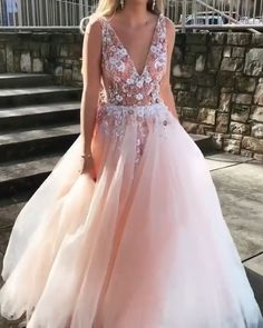 Pink Prom Dresses Long V Neck Appliques Evening Party Dresses Prom Dresses Long Pink, Wedding Dresses For Girls, Homecoming Dresses, Evening Dresses, Summer Dresses, Outfit Summer, Dress Prom, Elegant Dresses, Pretty Dresses