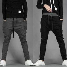 Men's Fashion Casual Skinny Taper Slacks Harem Pants 2 Color