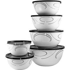Corelle Coordinates 12-Piece Porcelain Enamel Bowl Set, Simple Lines