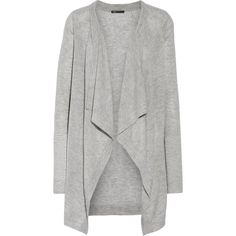 Vince Draped wool-blend cardigan ($151) ❤ liked on Polyvore featuring tops, cardigans, light gray, lightweight open front cardigan, drape top, drapey top, loose fitting tops and loose tops