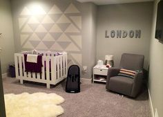 love this little girls nursery!  soft greys and white with purple accents... perfect!  featuring the Eicho Crib & Changing Table by @spotonsquare and Grazia Swivel Glider by @montedesign .