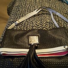 New fold dwn purse with adjustable straps black with tasel net fabric with white background Avon Bags Satchels
