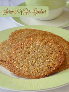 Sesame Wafer Cookies - a super simple recipe that proves baking doesn't have to be complicated to be absolutely delicious; crispy, sweet, buttery and full of nutty sesame flavour, these little cookie gems are completely addictive.