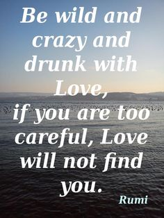 Rumi - be wild and crazy and drunk with Love, if you are too careful, Love will not find you.