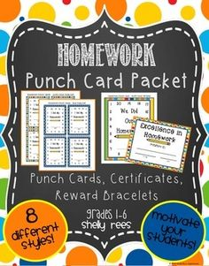 #SummerDollarDealsPunch Cards are a wonderful way to motivate students!  It can sometimes be difficult to get students to do their homework.  This fun packet of punch cards, award certificates, and reward bracelets is highly motivating to students.Please see the larger preview to get a much better picture of what all is included!Included are:Packet InstructionsIndividual Punch CardsLarge Class or Cooperative Group Punch CardsAward CertificatesReward BraceletsEACH of these components of the…