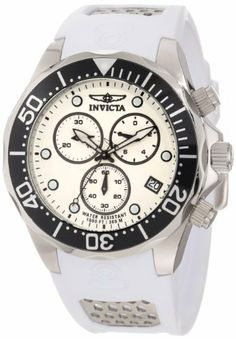 Invicta Men's 11480 Pro Diver Chronograph White Dial White Polyurethane Watch Invicta. $114.00. Chronograph functions with 60 second, 30 minute and 1/10th of a second subdials; date window at 4:00. Swiss quartz movement. Water-resistant to 300 M (984 feet). White dial with black and white hands and hour markers; luminous; unidirectional stainless steel bezel with black top ring; screw-down crown and pushers. Mineral crystal; stainless steel case; white polyurethane strap with s...