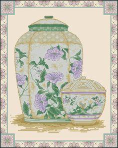 Oriental vase-cross-stitch design
