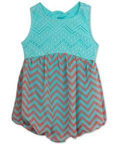 Rare Editions Baby Girls' Mint Lace & Chevron Stripe Romper  | macys.com