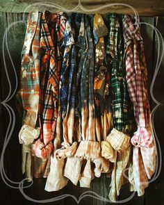 Bridesmaid Flannel Shirts. Bleached and distressed. Super cute for your getting ready outfit for your bridal party!!