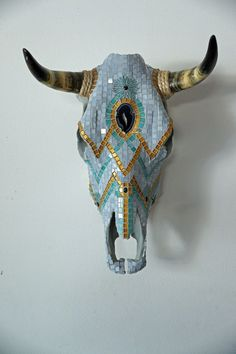 Tile  Mosaic For Sale | Mosaic Steer Skull | ArtsyHome