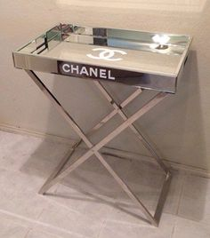 Fabulous, Mirrored replica Chanel Tray Table, Cocktail♡Beauty and makeup products available from Posh Beautique, our store brings international makeup brands right to your doorstep Table. OMG Ohhh my sweet… My New Room, My Room, Chanel Bedroom, Chanel Decor, Glam Room, Deco Design, Design Design, Beauty Room, Home Living