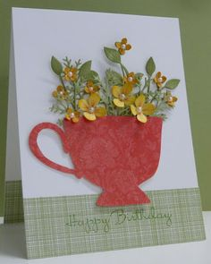 Teacup Birthday - SU! Tea Shoppe. Clear-embossed teacup. Such a pretty bunch of punched flowers!