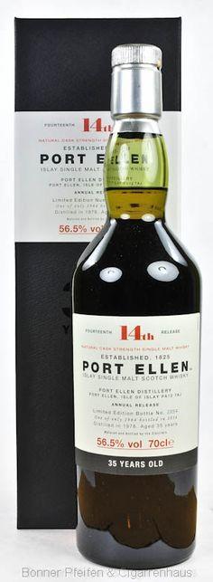 Port Ellen Whisky 14th Release 35 y.o. 1978. Region : Islay nur eine Flasche 56,5 % alc./vol. 0,7l Fassart : Refill amerikanische und europäische Eichenfässer Nase : Moosiger Torf, dunkler Kakao, Fensterleder, Citrusfrüchte, süße Minze Geschmack : Weich, vollmundig, Süße und Salz, Citrus und süßlicher Rauch Finish : Lang anhaltend, warm, trockener Rauch Abfüller : Original Distilled : 1978 Bottled : 2014 35 y.o. Flaschennr.: 2254 Flaschenanzahl : 2964 Limited Edition 14th Release