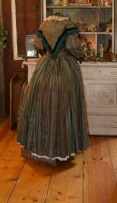 """Civil War Era Brown Green Silk Plaid Dress 