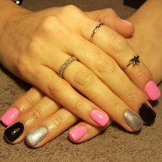 Nails Nail Tips Art Printing NailArt NailPrinting NailCandy NailsOfTheWeek Namaste NamasteNails pink black silver barbie