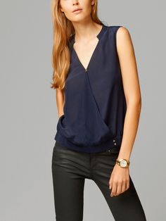 SILK TOP WITH CROSSOVER FRONT