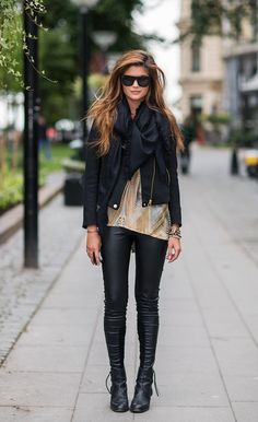 hair colors, casual fall, black leggins and boots, street styles, leather jackets, leather pants, leather leggings, summer clothes, black leather jacket