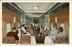Cafe Lounge Cars in Service Trains, Railroad