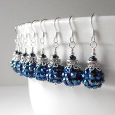 Navy Blue Bridesmaid Jewelry Pave Crystal by FiveLittleGems, $14.00