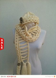 Sale   Beige/cream color Handknitting Scarf and Beret by NesrinArt