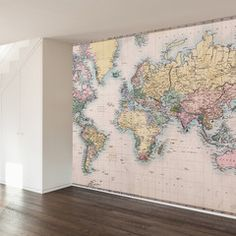 Ikea world map it comes ready to hang but this blogger added a vintage map wall mural decal wallsneedlove gumiabroncs Choice Image