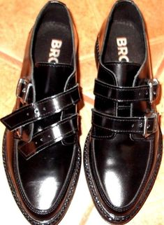 5fe7b7a34bf BRONX PAIR OF BLACK OXFORDS DOUBLE BUCKLE NEW CONTION LEATHER SIZE 8 OR 38   fashion  clothing  shoes  accessories  womensshoes  flats (ebay link)