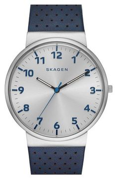 Skagen 'Ancher' Perforated Leather Strap Watch, 40mm available at #Nordstrom