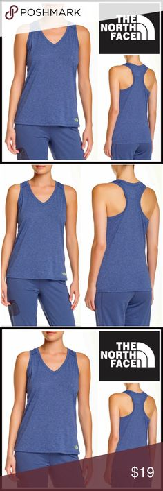 "⭐️⭐️ NORTH FACE Workout Tank Top RETAIL PRICE: $28 💟 NEW WITH TAGS 💟  NORTH FACE Workout Tank Top  * Marled construction  * Incredibly soft & comfy stretch-to-fit fabric * V-neck, racerback, &  pullover style * Front logo detail  * Approx 24"" long Fabric: 100% polyester Color: Ink spot blue ITEM# 🚫No Trades🚫 ✅ Offers Considered*✅ Bundle Discounts ✅ *Please use the blue 'offer' button to submit an offer North Face Tops Tank Tops"