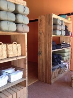 yoga studio storage | Yoga prop storage shelves More