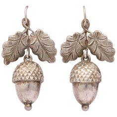 VICTORIAN Silver Acorn and Oak Leaf Dangle Earrings | From a unique collection of vintage drop earrings at https://www.1stdibs.com/jewelry/earrings/drop-earrings/