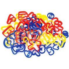 Plastic Cookie Cutters 50/Pkg-A-B-C & 1-2-3, Multicolor