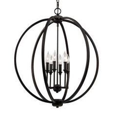 Feiss Corinne 6-Light Oil Rubbed Bronze Large Pendant F3061/6ORB at The Home Depot - Mobile