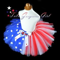 Stunning American Flag Tutu with glitter stars for girls, teens and women.
