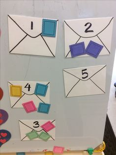 Cute post office theme math activity. Children add the correct number of stamps to the envelope.
