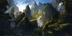 Environment concept by Reinmar84 bridge waterfall mountains forest woods landscape location environment architecture | Create your own roleplaying game material w/ RPG Bard: www.rpgbard.com | Writing inspiration for Dungeons and Dragons DND D&D Pathfinder PFRPG Warhammer 40k Star Wars Shadowrun Call of Cthulhu Lord of the Rings LoTR + d20 fantasy science fiction scifi horror design | Not Trusty Sword art: click artwork for source